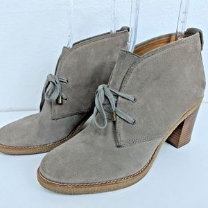 Coach Nikol Rich Suede Gray Bootie Sz 10B Stacked